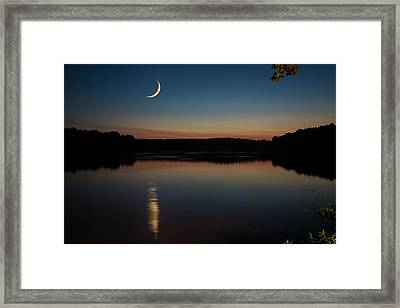 Framed Print featuring the photograph Crescent Moon Set At Lake Chesdin by Jemmy Archer