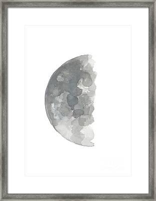 Crescent Moon Watercolor Painting, Silver Blue Gray Abstract Half Moon Art Print  Framed Print