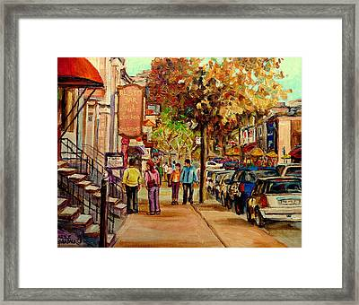 Framed Print featuring the painting Crescent Street Montreal by Carole Spandau