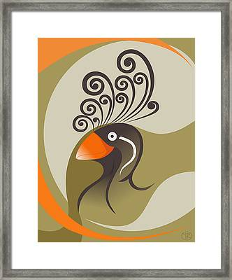 crestedAUKLET Framed Print by Mariabelones ART