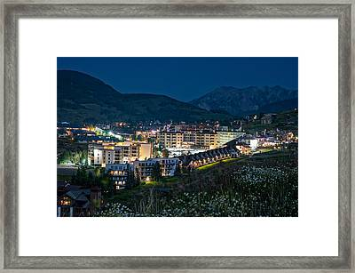 Crested Butte Village Under Full Moon Framed Print by Michael J Bauer