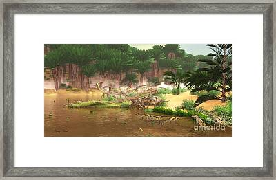 Cretaceous Dinosaur River Framed Print by Corey Ford