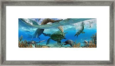 Cretaceous Marine Scene Framed Print by Julius Csotonyi