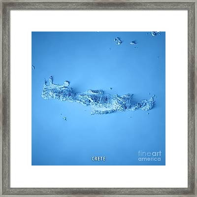 Crete Island Greece 3d Render Topographic Map Blue Framed Print