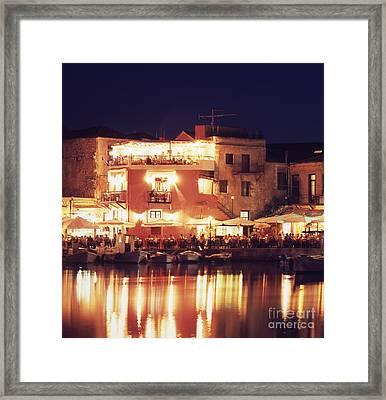 Crete. Rethymnon Harbor At Night Framed Print by Steve Outram