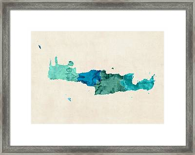 Crete Watercolor Map Framed Print
