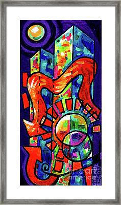 Creve Coeur Streetlight Banners Whimsical Motion 8 Framed Print by Genevieve Esson
