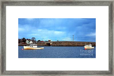 Cribstone Bridge And Boats On Bailey Island Framed Print by Olivier Le Queinec