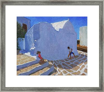 Cricket By The Church Wall, Mykonos  Framed Print by Andrew Macara