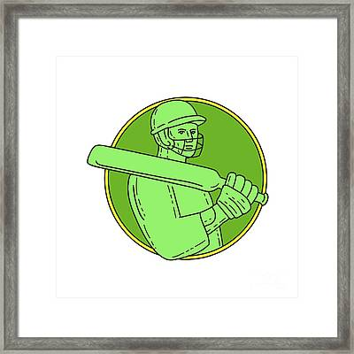 Cricket Player Batsman Circle Mono Line Framed Print