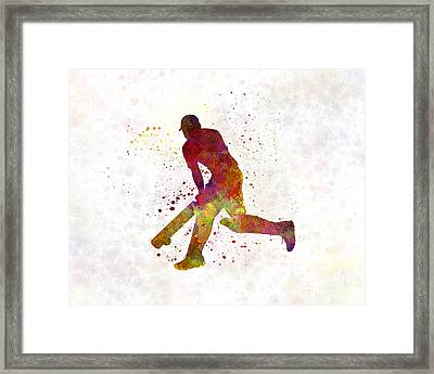 Cricket Player Batsman Silhouette 03 Framed Print