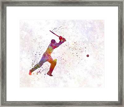 Cricket Player Batsman Silhouette 04 Framed Print