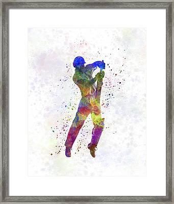 Cricket Player Batsman Silhouette 05 Framed Print