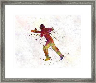 Cricket Player Batsman Silhouette 06 Framed Print