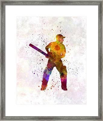 Cricket Player Batsman Silhouette 07 Framed Print