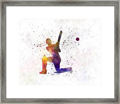 Cricket Player Batsman Silhouette 08 Framed Print