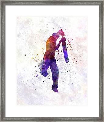 Cricket Player Batsman Silhouette 09 Framed Print