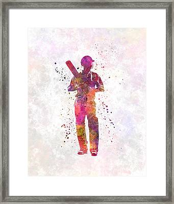 Cricket Player Batsman Silhouette 10 Framed Print
