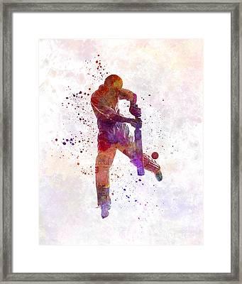 Cricket Player Batsman Silhoutte Framed Print