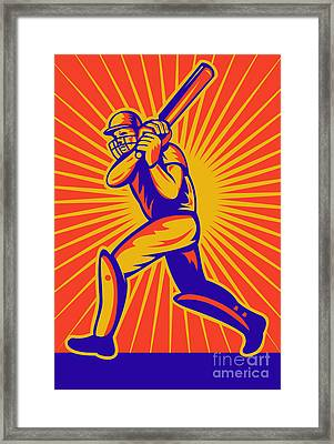Cricket Sports Batsman Batting Framed Print