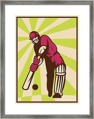 Cricket Sports Batsman Batting Retro Framed Print