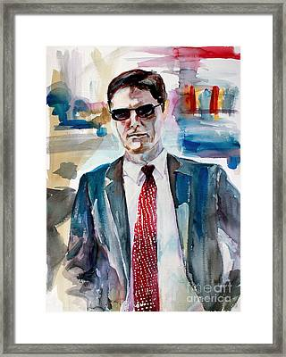 Framed Print featuring the painting Criminal Minds Aaron Hotchner The Way I See Him by Ginette Callaway