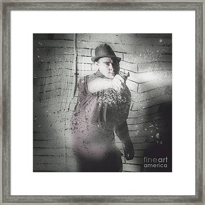 Criminal Underworld Man Shooting Gun Framed Print by Jorgo Photography - Wall Art Gallery