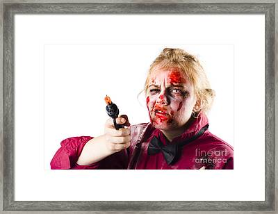 Criminal Zombie Pointing Revolver Framed Print