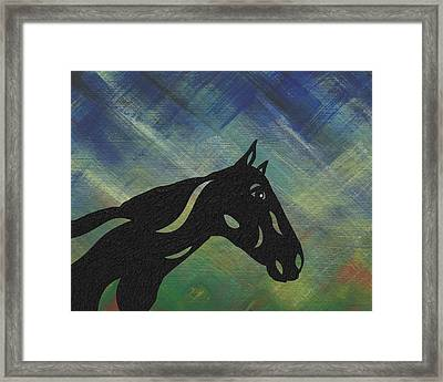 Crimson - Abstract Horse Framed Print