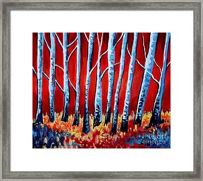 Crimson Birch Trees Framed Print by Elizabeth Robinette Tyndall