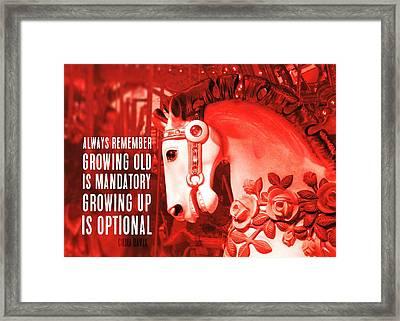 Crimson Carousel Quote Framed Print