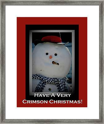 Crimson Christmas Snowman Framed Print