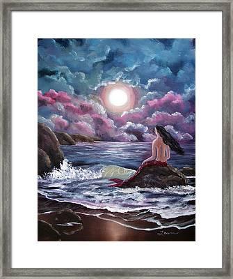 Crimson Mermaid Framed Print by Laura Iverson