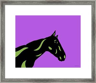 Crimson - Pop Art Horse - Black, Greenery, Purple Framed Print