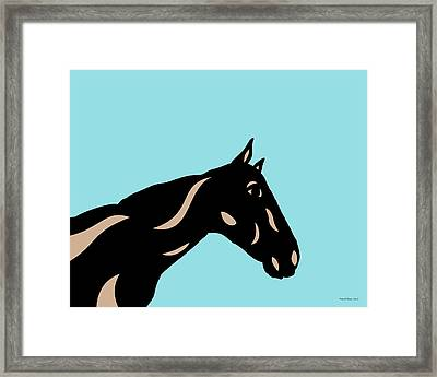 Crimson - Pop Art Horse - Black, Hazelnut, Island Paradise Blue Framed Print