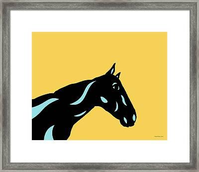 Crimson - Pop Art Horse - Black, Island Paradise Blue, Primrose Yellow Framed Print