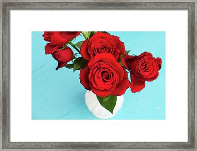 Crimson Roses Framed Print by Happy Home Artistry