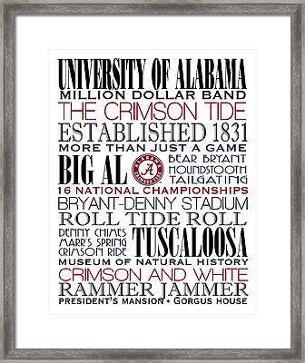 Crimson Tide Champions Framed Print by Marian Schumer