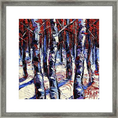 Crimson Wood - Impasto Etude Palette Knife Oil Painting Framed Print by Mona Edulesco