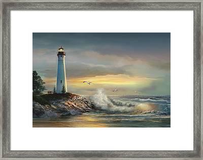 Crisp Point Lighthouse At Sunset  Framed Print by Regina Femrite