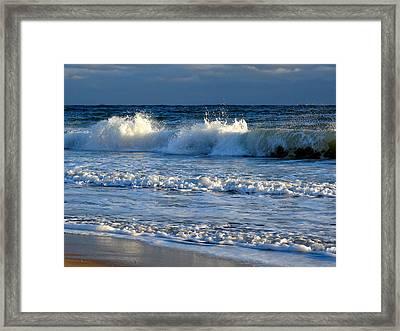 Crisp Winter Light On Waves Framed Print by Dianne Cowen