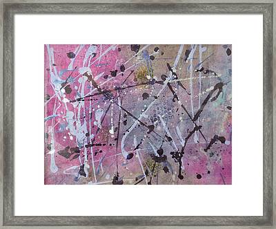 Criss Cross With Pink Framed Print by Helen Hammerman