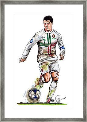 Cristiano Ronaldo Framed Print by Dave Olsen