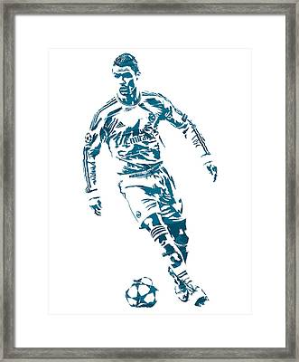 Cristiano Ronaldo Real Madrid Pixel Art 1 Framed Print