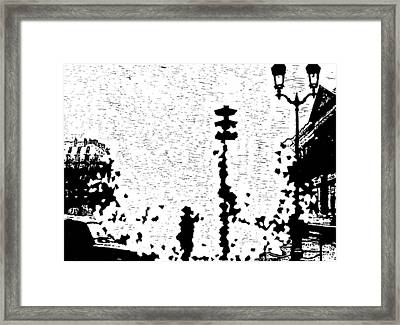 Critical Crossing -- Hand-pulled Linoleum Cut  Framed Print