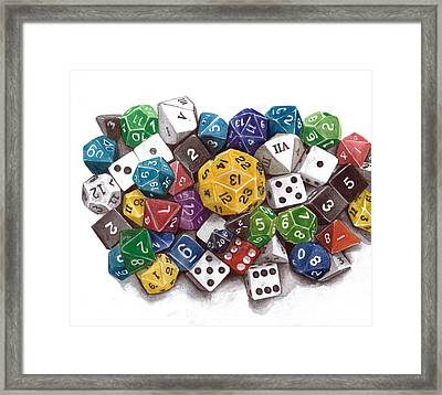 Critical Hit Polyhedral Dice Framed Print by Christine Leader