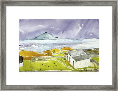Croagh Patrick And Purple Sky Framed Print