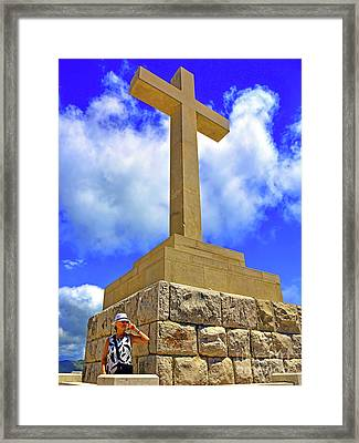 Dubrovnik Massive Stone Cross Of Peace On Srd Hill Summit Next To Framed Print by Wilf Doyle