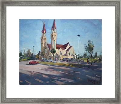Croatian Centre-the Queen Of Peace Framed Print by Ylli Haruni