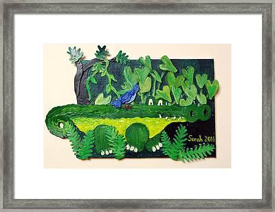 Crocodile Amble Framed Print by Sarah Swift